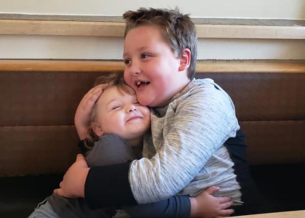 Joshy hugging Jenna